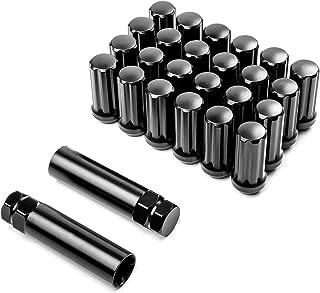 Krator 24 Schwarze Radmuttern, 35,6 x 5,1 cm + 2 x Schlüssel, Diebstahlsicherung, Lug Nut 7 Spline Antrieb, geschlossenes Ende, Kegelsitz, Gesamtlänge: 5,1 cm