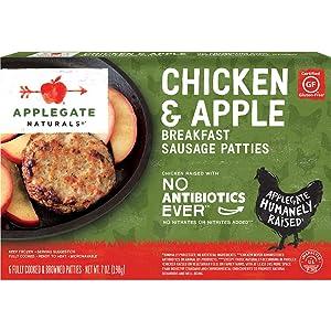 Applegate, Natural Chicken & Apple Breakfast Sausage Patties, 7oz (Frozen)