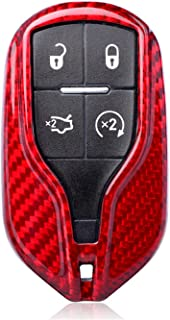 100% Carbon Fiber Case For Maserati Key Fob, Genuine Carbon Fiber Cover For Maserati Levante Quattroporte Ghibli Fob Remote Key, Car Key Fob Case Protector For Men Fob Cover Skin For Women - Red