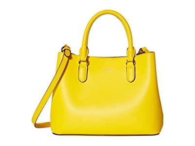 LAUREN Ralph Lauren Dryden Super Smooth Leather Marcy II Satchel Mini (Racing Yellow/Lauren Tan) Handbags