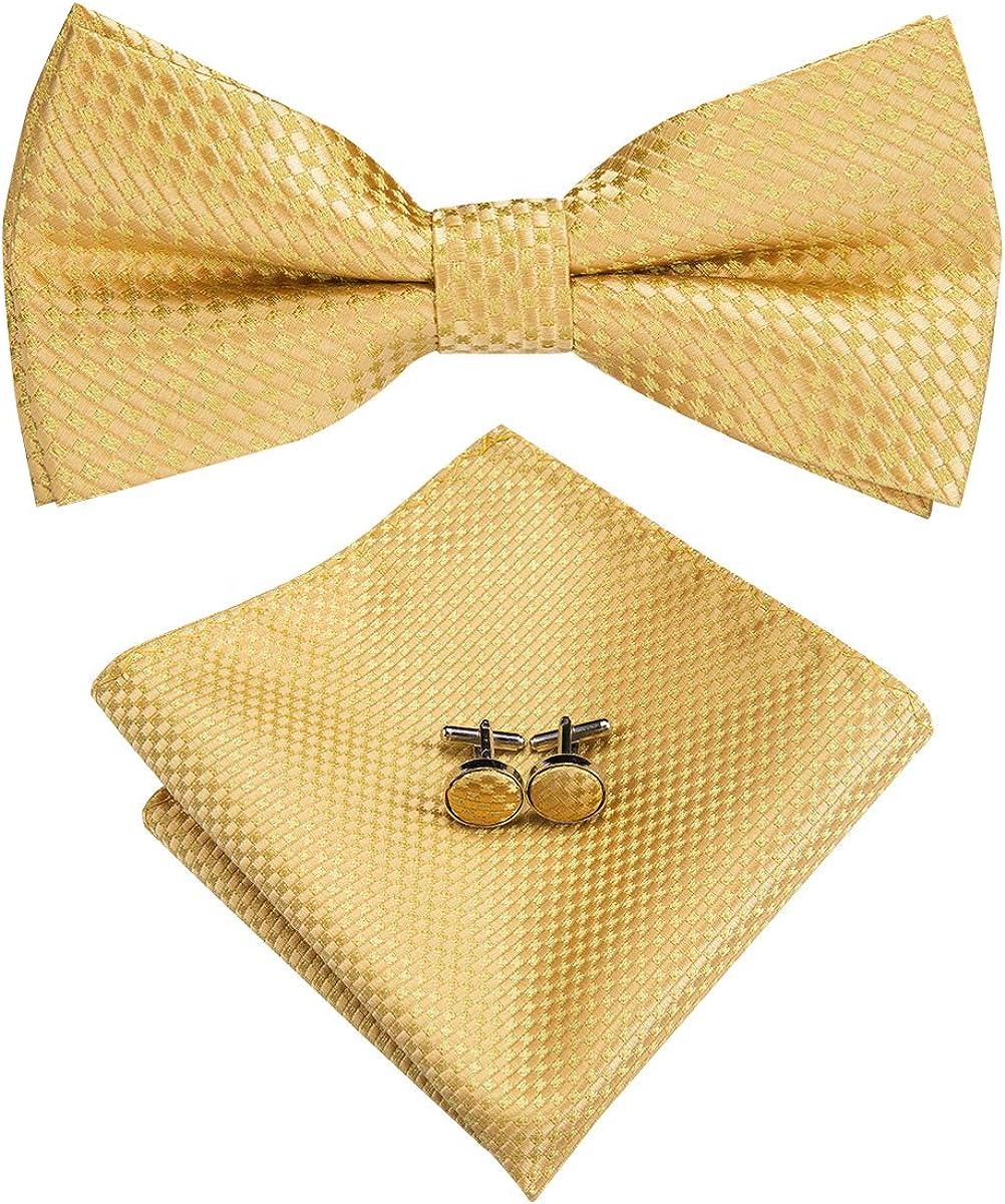 Hi-Tie Silk Mens Pretied Bow Tie and Pocket Square Cufflinks Set
