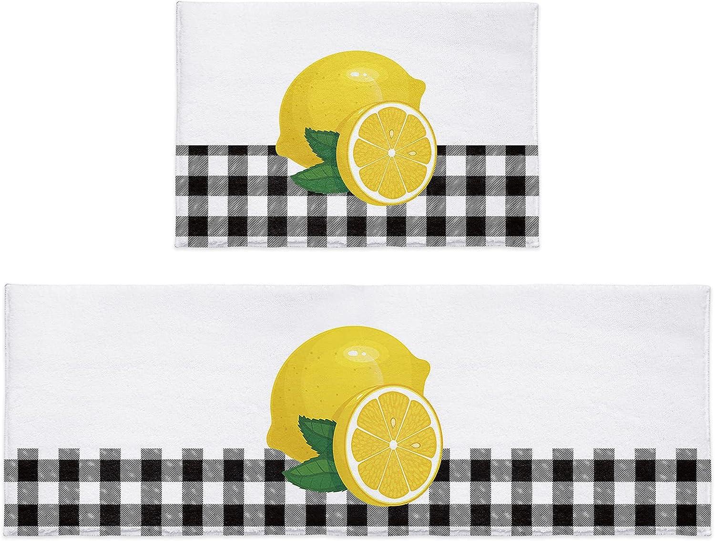 OneHoney 2 Pieces Fluffy Plush Kitchen Seasonal Wrap Introduction Yellow S High material Lemon Rugs Fresh
