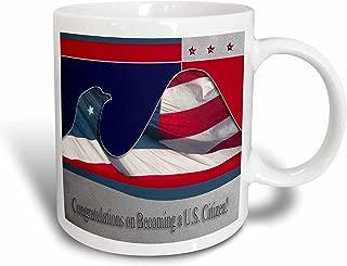 3dRose Congratulations on Becoming a U.S. Citizen, Flag Eagle Ceramic Mug, 15-Ounce