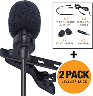 SoLID (TM) Lavalier Lapel Microphone 2 Pack Complete Set Omnidirectional Mic for Desktop..
