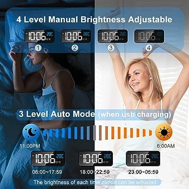MOSUO Réveil Numérique, Horloge Digitale Réveil Matin Miroir LED Grand Ecran Aver Température/Snooze/ 2 Alarme, Luminosité et