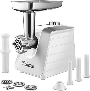 Twinzee Hachoir Electrique à Viandes (Blanc) Pour Viande et Saucisse - Robot Cuisine, Hachoir à Viande avec 3 Plaques de C...
