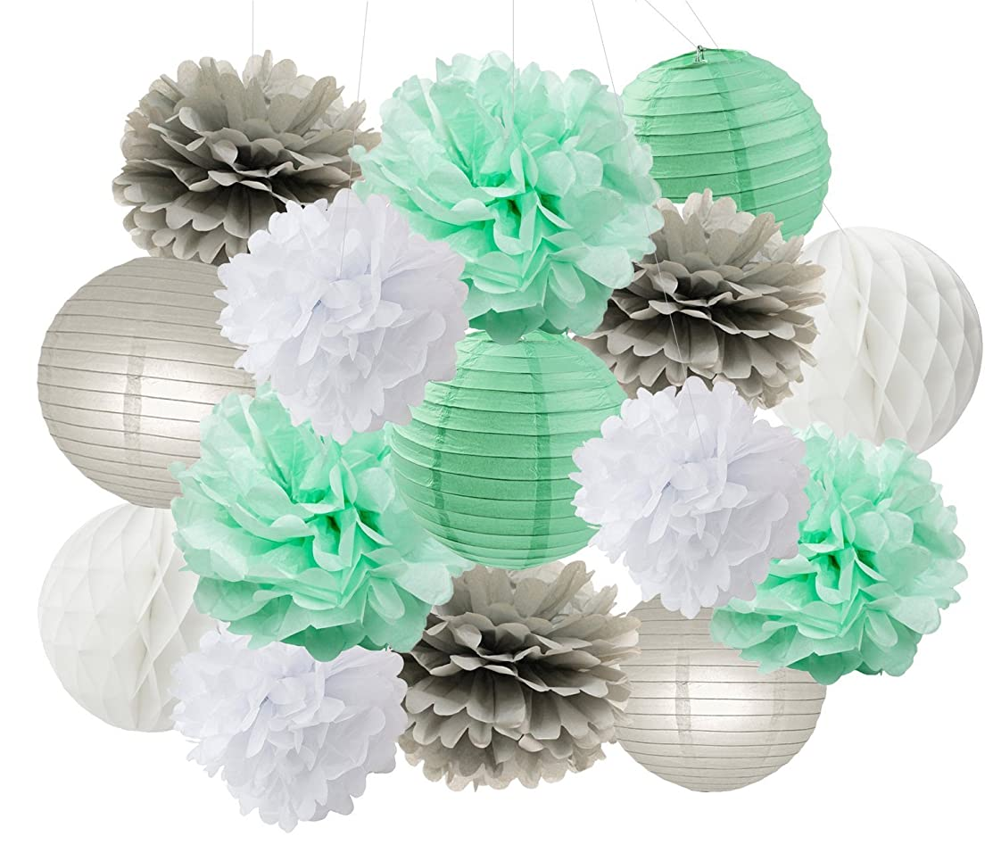 Baby Shower Decorations Furuix 15pcs Mint Grey White Party Decoration Kit Tissue Paper Pom Pom Honeycomb Ball for Bridal Shower Birthday Party Decoratios (Mint Grey White)