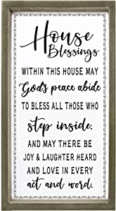 Cocomong House Blessing Sign, Housewarming Gifts for New Home Decor, Inspirational Wall Art 16 x 8 Inch, House Warming Presents for Couple, New Home Owners Modern Farmhouse Wood Plaque