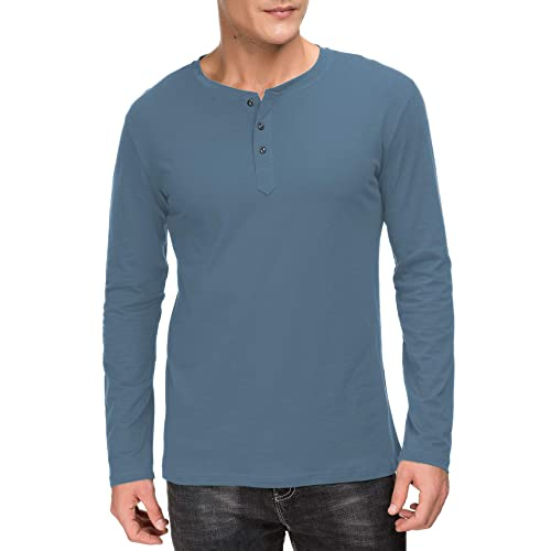 bad084bb80 Janmid Men s Casual Slim Fit Long Sleeve Henley T-Shirts Cotton Shirts