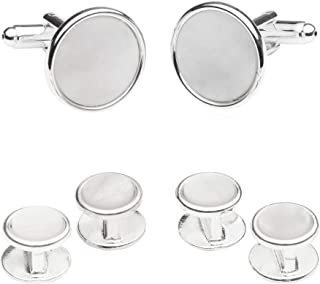 Sterling Silver Plated Mother of Pearl Cufflinks and Studs Formal Set with Presentation Box