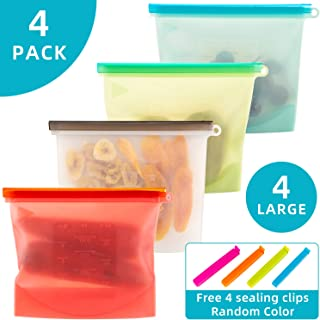 Reusable Silicone Food Bag Shark Lock Ziplock Bag,Freezer, Lunch Sandwiches, Fruit, EXTRA THICK, Zipper and seal Lock Top Freezer Safe (4 Pack)
