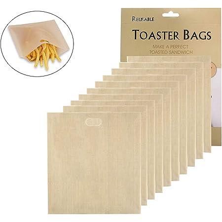10 Pack Sacs Alimentaires pour sandwichs Toaster Bags Antiadhésif pour Micro-Ondes Four Grille-Pain Gril et Grille, Non-StickReusable Snack Toast Bags for Microwave, Oven, Toaster, Grill and Griddle