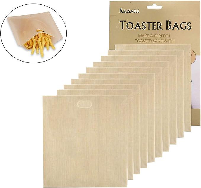 102 opinioni per 10 Pack Non-Stick sacchetti per toast Sacchetti per Tostapane riutilizzabili