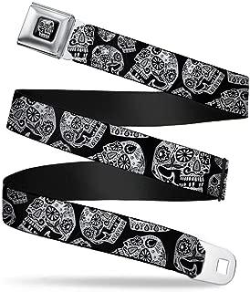 Buckle-Down Seatbelt Belt - The Dust of Living II Sugar Skulls Black/White - 1.5