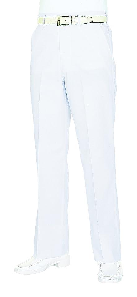 きらめくサイクル他の日医療/介護ユニフォーム メンズスラックスファスナー KAZEN アプロン ホワイト 430-49 Lフリー W95