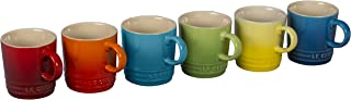 Le Creuset 6 Piece Colorful Stoneware 3.5 Ounce Petite Espresso Mug Set, Rainbow Assortment Colors