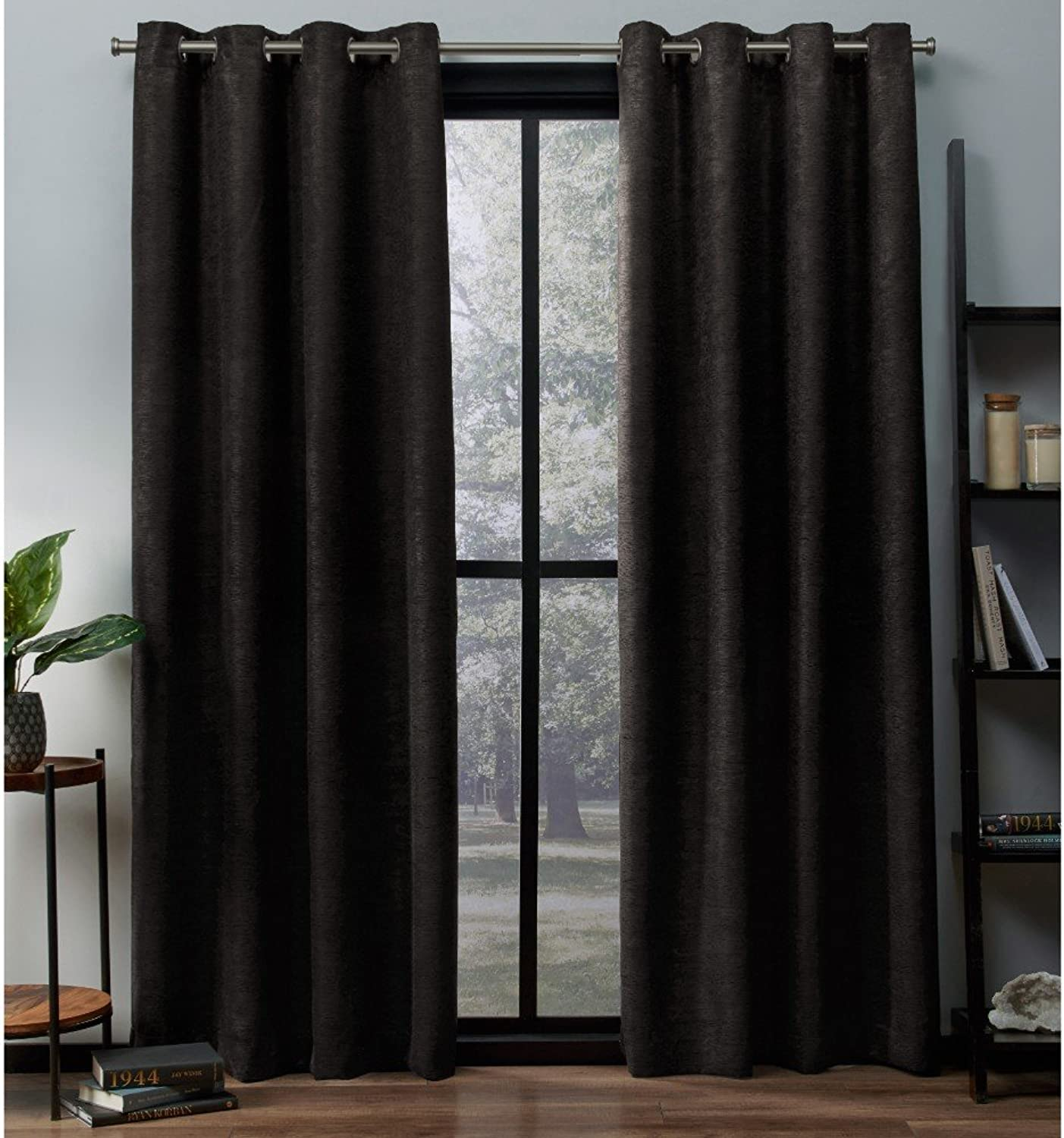 Exclusive Home Curtains Oxford Textured Sateen Thermal Window Curtain Panel Pair with Grommet Top, 52x108, Espresso, 2 Piece
