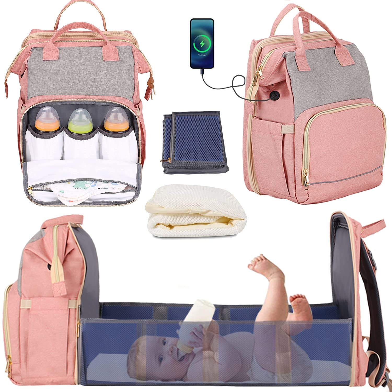 Manrany 3 in 1 Diaper Bag Backpack with Changing Station, Travel Bassinet Foldable Baby Bed, Portable Crib, Mummy Bag, Large Capacity, Waterproof, Multi-Functional Baby Travel Bag Pink (Pink-New)