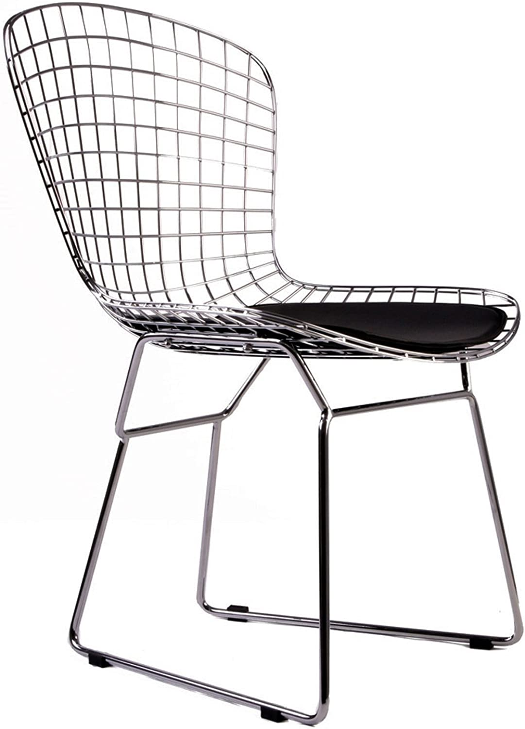 Meubles House S2-MC-024-B Mid-Century Modern Chrome Wire Bertoiastyle Kids Chair Pad (Set of Two), Black