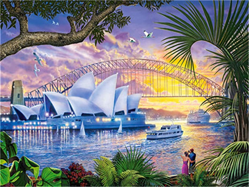 DIY Oil Painting Paint by Number Kit for Kids Adults Beginner 16x20 inch - Sydney Opera House, Drawing with Brushes Christmas Decor Decorations Gifts (Frame)