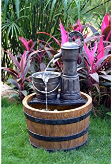 Tools Option Solar Sunnysaze Old Fashioned Water Pump Kit with Barrel Fountain