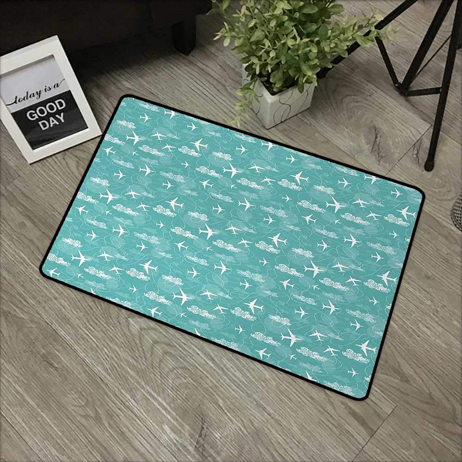 Living Room Door mat W35 x L59 INCH Airplane,Disoriented Flying Jets in Clear Sky with Curly Clouds Travel Vacation Theme,Turquoise White Non-Slip, with Non-Slip Backing,Non-Slip Door Mat Carpet