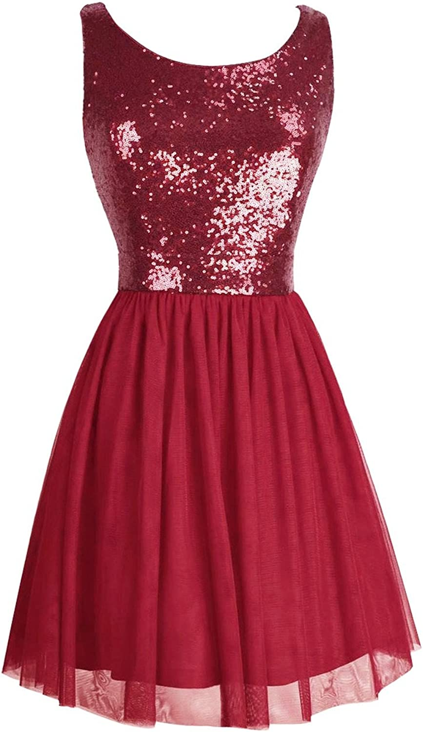 JudyBridal Women Short Sexy Glitter Sequins Mini Cocktail Party Dress