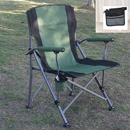 LJJOO Folding chair Chaise Pliante en Plein Air, Chaise De Plage Portable, Chaise De Pêche, Chaise De Camping Croquis De Camping Barbecue, Poche Latérale D'accoudoir Cadeau (Couleur   vert)