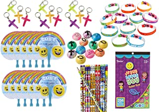 61 Piece Bulk Religious Christian Theme Kids Party Favors Bundle for Easter, Awana, VBS or Sunday School