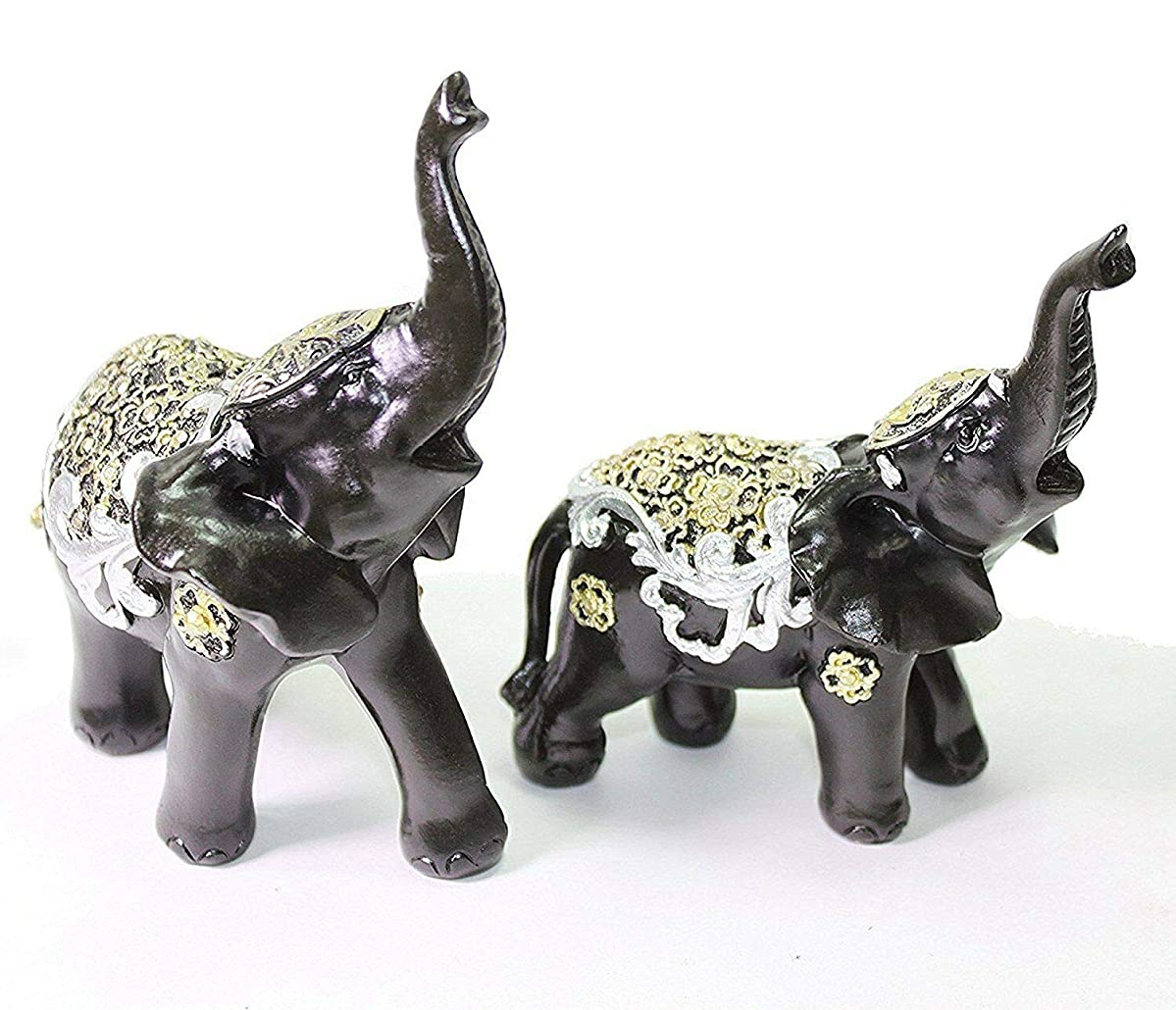 Set of 2 Feng Shui Elephants Trunk Statue Lucky Figurine Gift Home Decor Black
