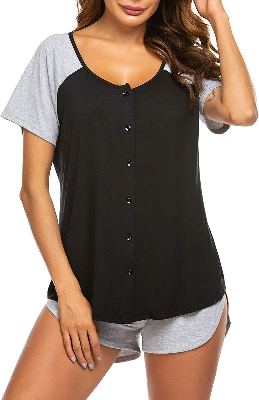 Ekouaer Women's Pajama Short Sleeve Don't miss the campaign Max 81% OFF Sleepwear Soft Top Pj an Set