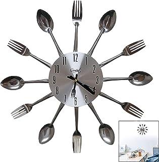 LSTK Relojes Cocina, Reloj De Pared con Cuchillo y Tenedor, Reloj Grandes Diseño Moderno Y Único en Casa Decoración de Oficina Reloj Escolar 32 * 32 Cm