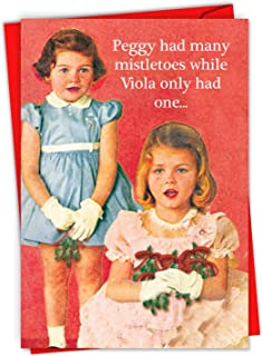 Peggy Is a Wh-re - 12 Adult Merry Christmas Note Cards with Envelope (4.63 x 6.75 Inch) - Mistletoe Humor, Funny Retro Greeting Note Cards for Women, Girl Friends, Sister - Boxed Set C2182XSG-B12x1