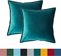 Bedsure Velvet Cushion Cover 2 Pack Teal Decorative Pillowcases for Sofa and Couch, 45cm x 45cm (18in x 18in)