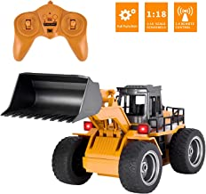 Yuboa Remote Control Truck RC Front Loader,RC Bulldozer Metal 6 Channel RC Tractor 2.4Ghz 4WD Construction Vehicle RC Truck Front End Loader Toy Present for Kids Boys Yellow