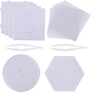 Xgood 5mm Round Fuse Beads Boards Square Clear Plastic 6Pcs Bead Pegboards with 6Pcs White Beads Tweezers and 5Pcs Ironing Paper for Kids DIY Craft Beads