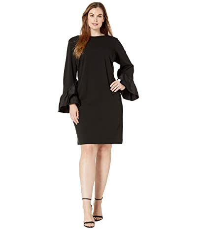 LAUREN Ralph Lauren Plus Size Luxe Tech Crepe-Dress w/ Combo (Black) Women