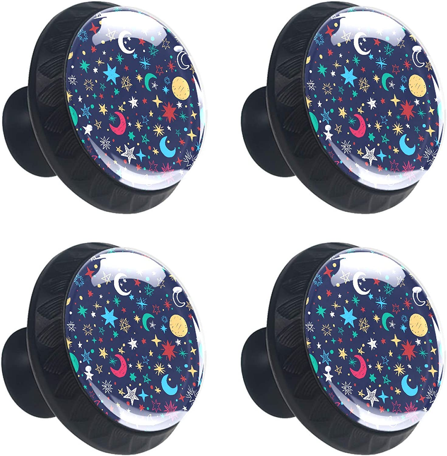 Door Knobs Galaxy Stars Moon Drawer Knobs Lovely Handle Pull Cup