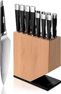 linoroso Set de Couteaux de Cuisine 12 pièces avec Bloc, Set de Couteaux allemands en Acier à Haute teneur en Carbone avec...
