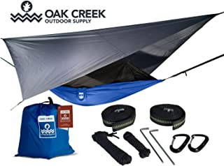 Lost Valley Camping Hammock Bundle Includes Single Hammock, Mosquito Net, Rain Fly, Tree Straps in a Lightweight Compression Sack. Weighs Only 4 Pounds, Perfect for Hammock Camping.