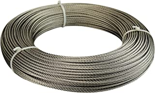 Muzata Stainless Steel Cable 1/8 inch,T316 Marine Grade Wire Rope,7x7 Strands Construction for Cable Railing,Balustrade DIY,Decking,200FT WR02,Series WP1 WM1