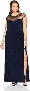 Xscape womens Xscape Women's Beaded Illusion Top Dress Dress
