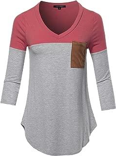 Women's Basic Color Block Suede Pocket Top