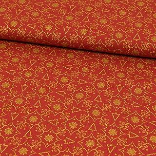 sustancias Werning Tela de algodón árbol de Navidad Oro Rojo Advent Copos de Nieve–Precio de 0,5Metro