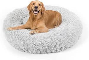 Dog Bed, Cat Calming Bed, Faux Fur Pillow Pet Donut Cuddler Round Plush Bed for Large Medium Small Dogs and Cats