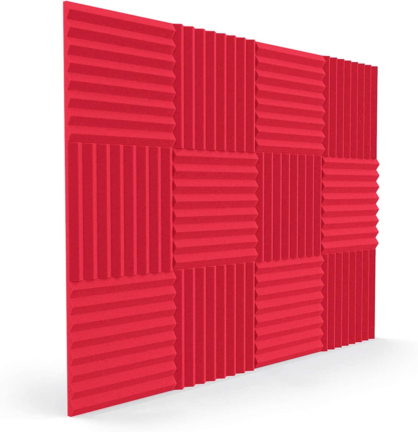 SDKEI 12 Pack Acoustic Foam Panels with 48 Double-sided Tape 1x 12x 12 Soundproof Studio Foam Wedges Sound Insulation Absorbing Padding for Home Studio Ceiling Game Room