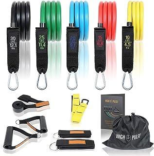 comprar comparacion High Pulse ® Bandas elásticas musculación | 5 niveles de entrenamiento posibles – Bandas de resistencia fitness para el en...