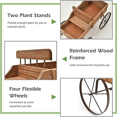 Giantex Decorative Garden Planter, Small Wagon Cart with Metal Wheels, Wood Raised Beds Plant Pot Stand for Backyard Garden P