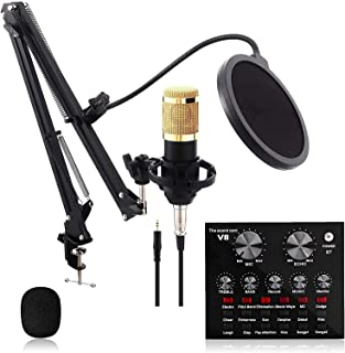 Multifunctional Live Sound Card Microphone Set, with 12 Background Sound Effects, Metal Microphone Set Adjustable Bracket,...