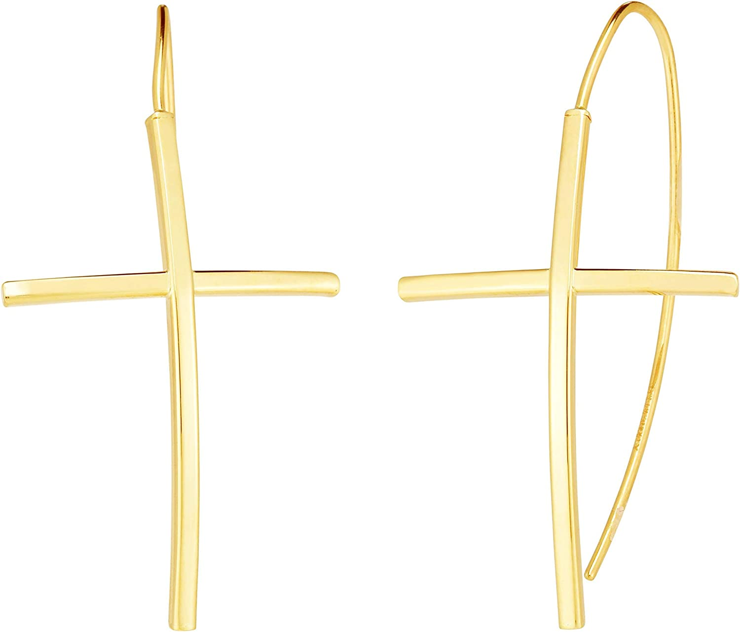 14K Yellow Gold Cross Slide Earrings Excellent Clasp Fashionable with